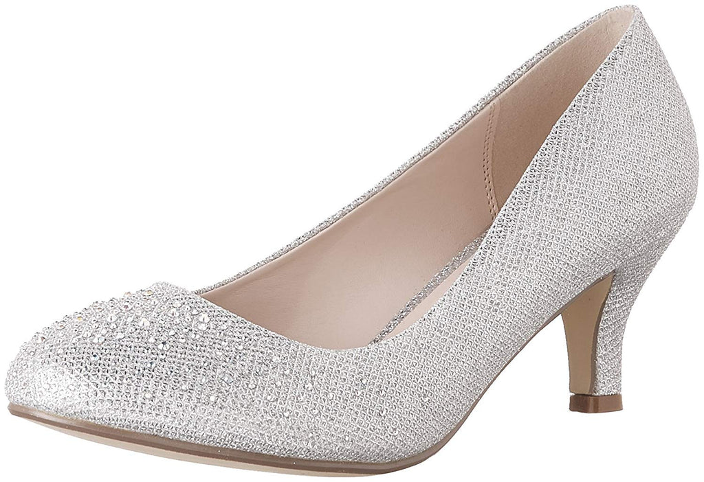 Bonnibel Wonda-1 Womens Round Toe Low Heel Glitter Slip On Dress Pumps