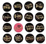 Pinback Buttons - 16-Pack Bachelorette Party Button Pins in 16 Designs for Bridal Shower Party Favors, Black and Gold, 2.25 Inches Diameter