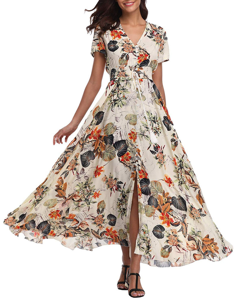 VintageClothing Women's Floral Print Maxi Dresses Boho Button Up Split Beach Party Dress