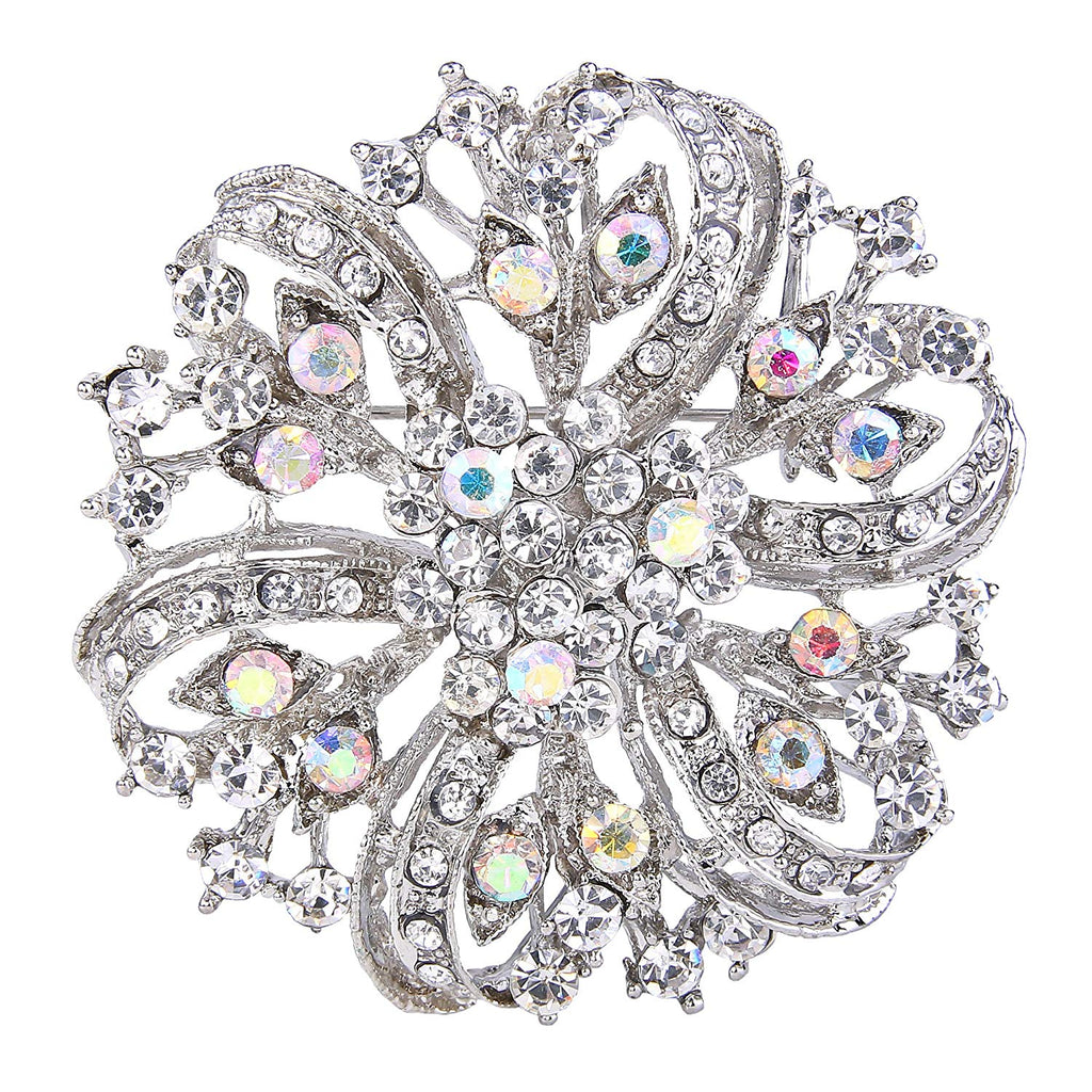 EVER FAITH Austrian Crystal Vintage Inspired Bridal Flower Brooch Corsage