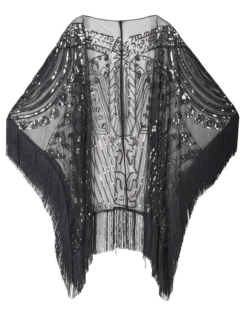 PrettyGuide Women's Evening Wrap Beaded 1920s Shawl Fringed Oversized Cover Up