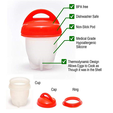 Egglettes Egglets Non-stick Egg Pod, Silicone Egg Cooker-Silicone, Clear/red