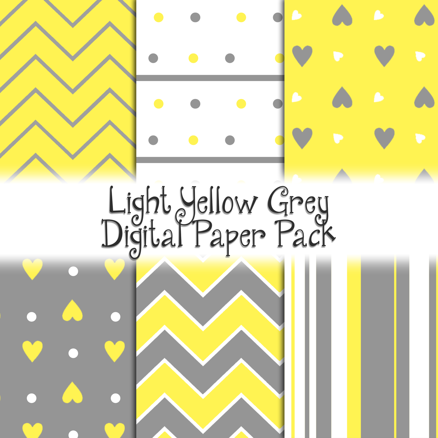Light Yellow Grey Digital Paper Pack