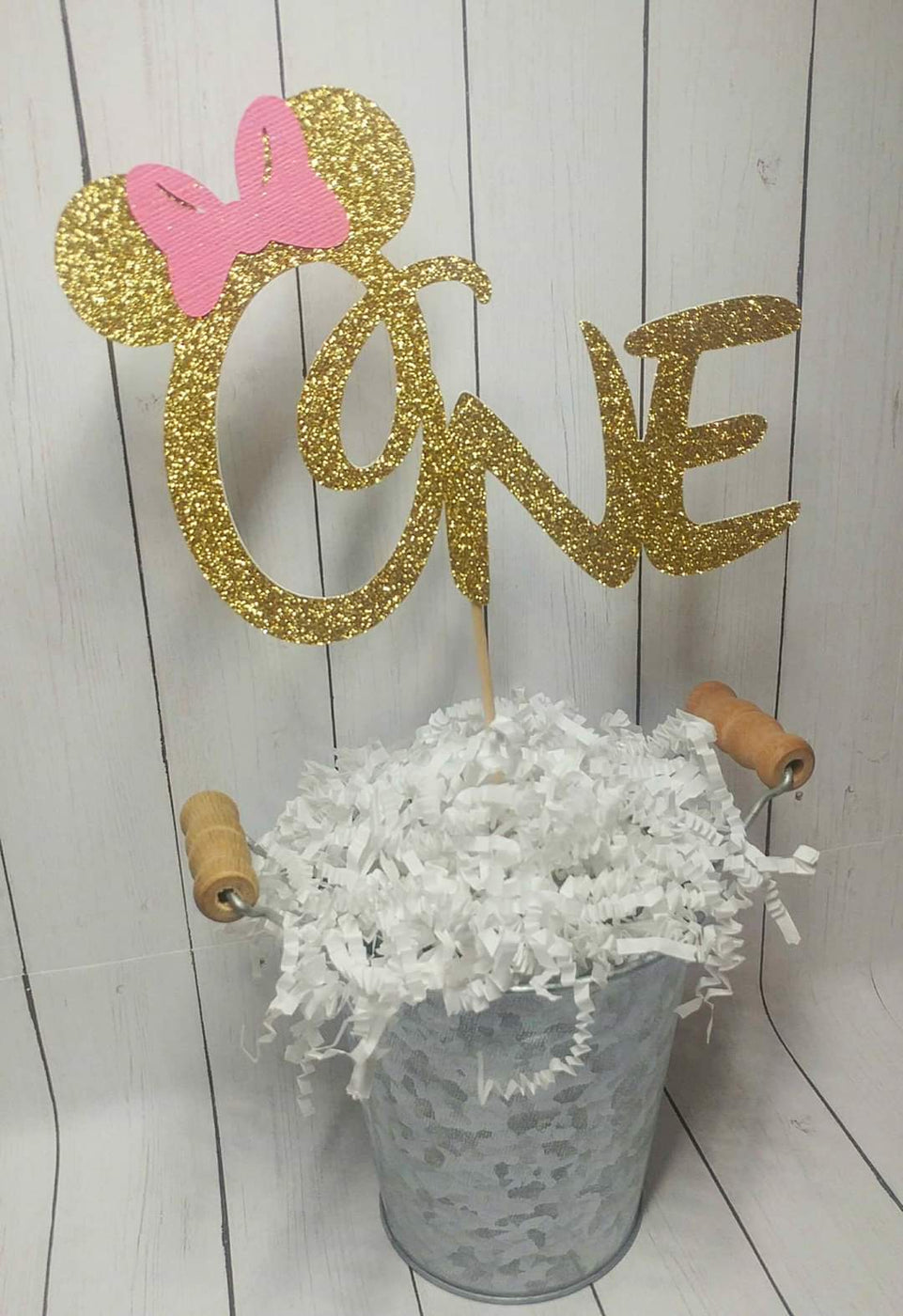 Glitter Gold Minnie Mouse One Cake Topper