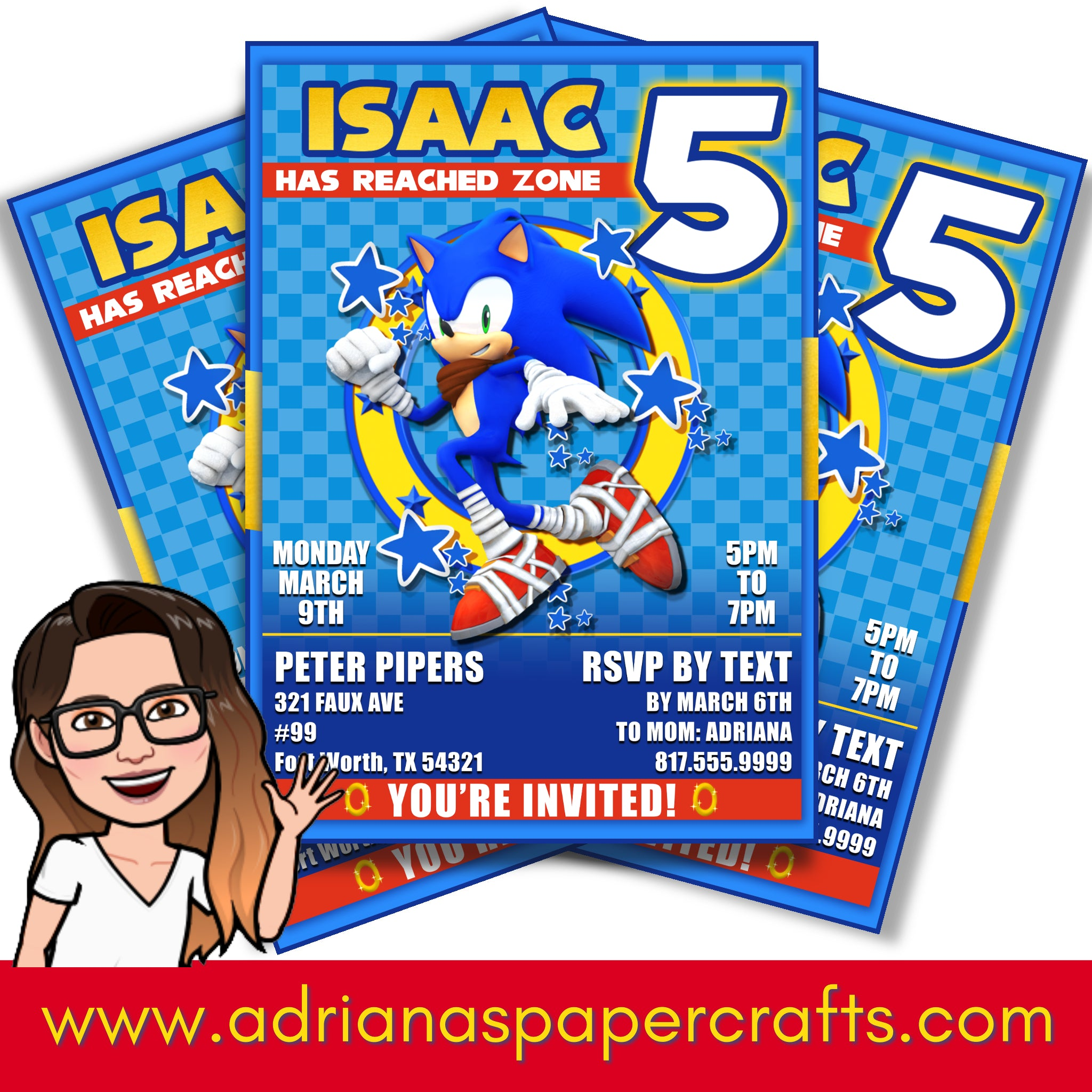 Sonic Party Invitation Adriana S Paper Crafts