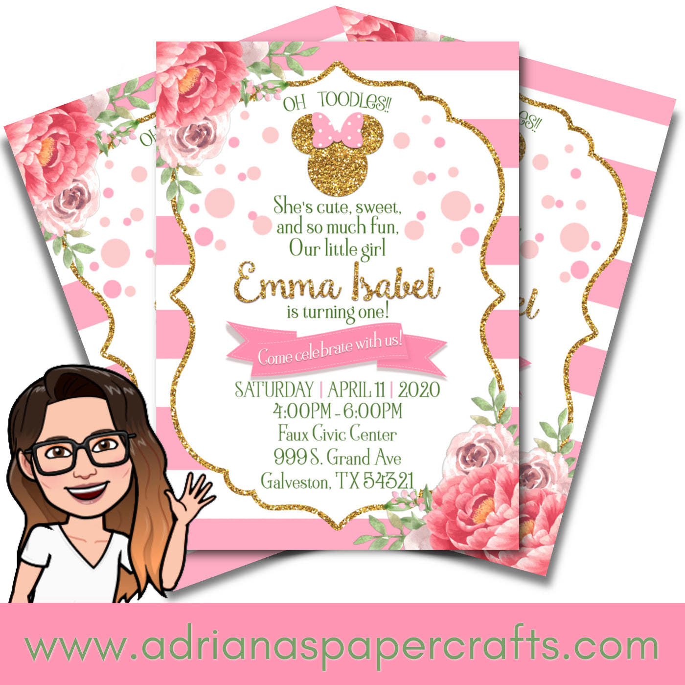 Minnie Mouse Pink and Gold Party Invitation