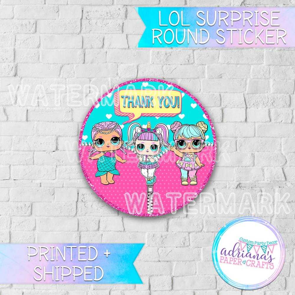 Lol Surprise Party Thank You Round Stickers