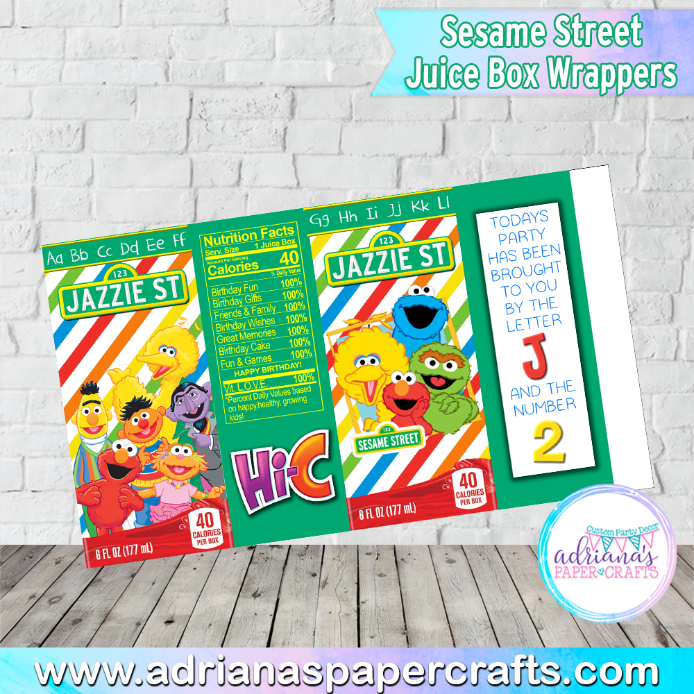 Sesame Street Party Juice Box Wrappers