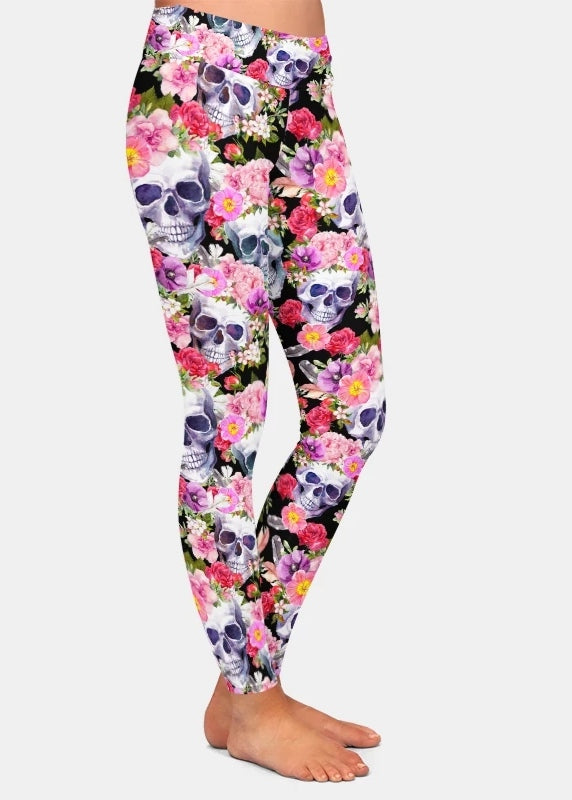 All Ove Flowers X Skulls Leggings