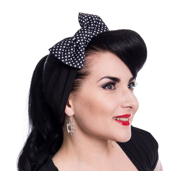 Bailie Headband Black Polka By Rockabella