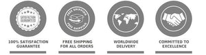 online store with warranty and free shipping icons