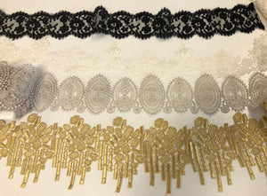 Lace trims for a variety of applications