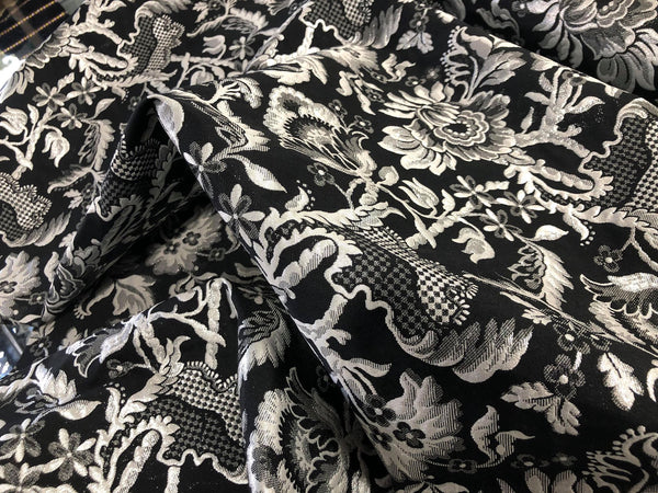 Reversible Jacquard Suiting, Black, Cream & Silver