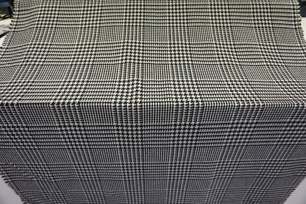 Black & White Houndstooth Check Tweed