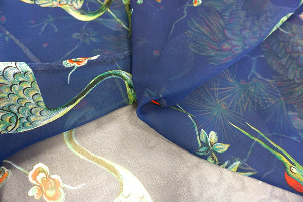 Green Crane Print on Blue Chiffon
