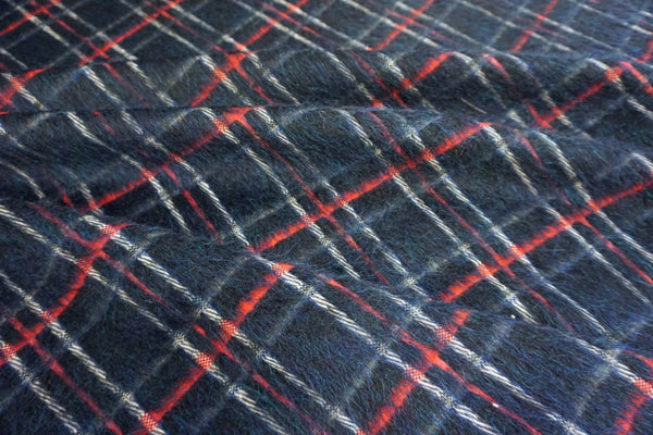 Dark Navy Check Mohair Coating