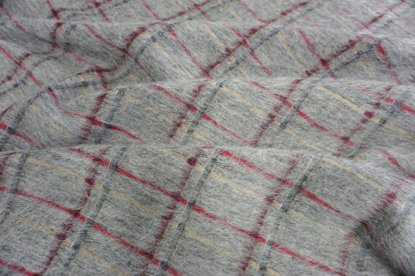 Grey Check Mohair Coating
