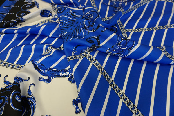 PANEL: Versace Panther & Chains Print on Silk Twill, Blue