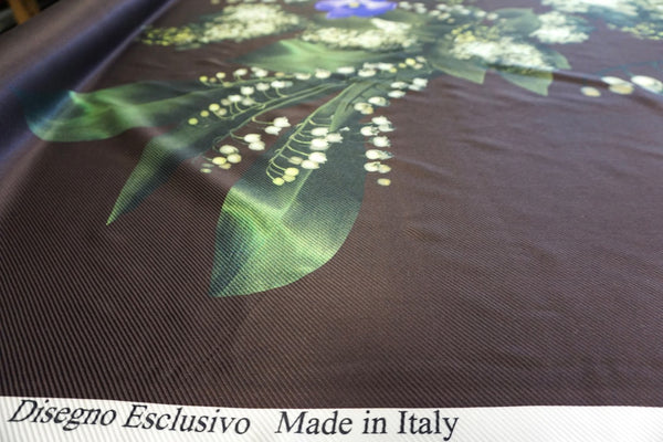 PANEL- Lily of the Valley Print on Silk Twill Satin