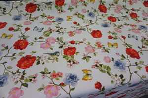 Yellow Robin's Garden Print on Cotton Jersey, White