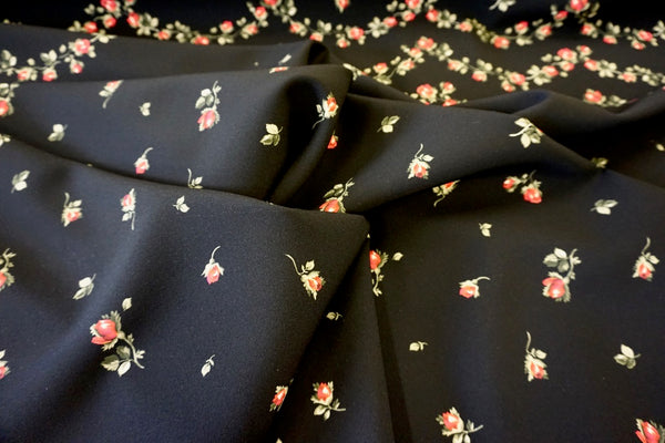 PANEL- Rose Border Print on Stretch Crepe