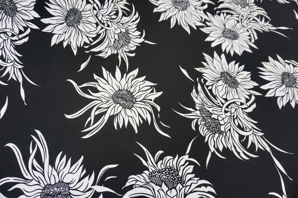 Sunflower Print on Stretch Ponti, Black & White