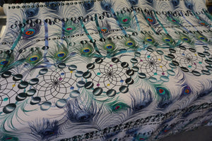 Peacock Dream Catcher Print on Crepe de Chine