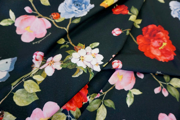 Yellow Robin's Garden Print on Cotton Jersey, Black
