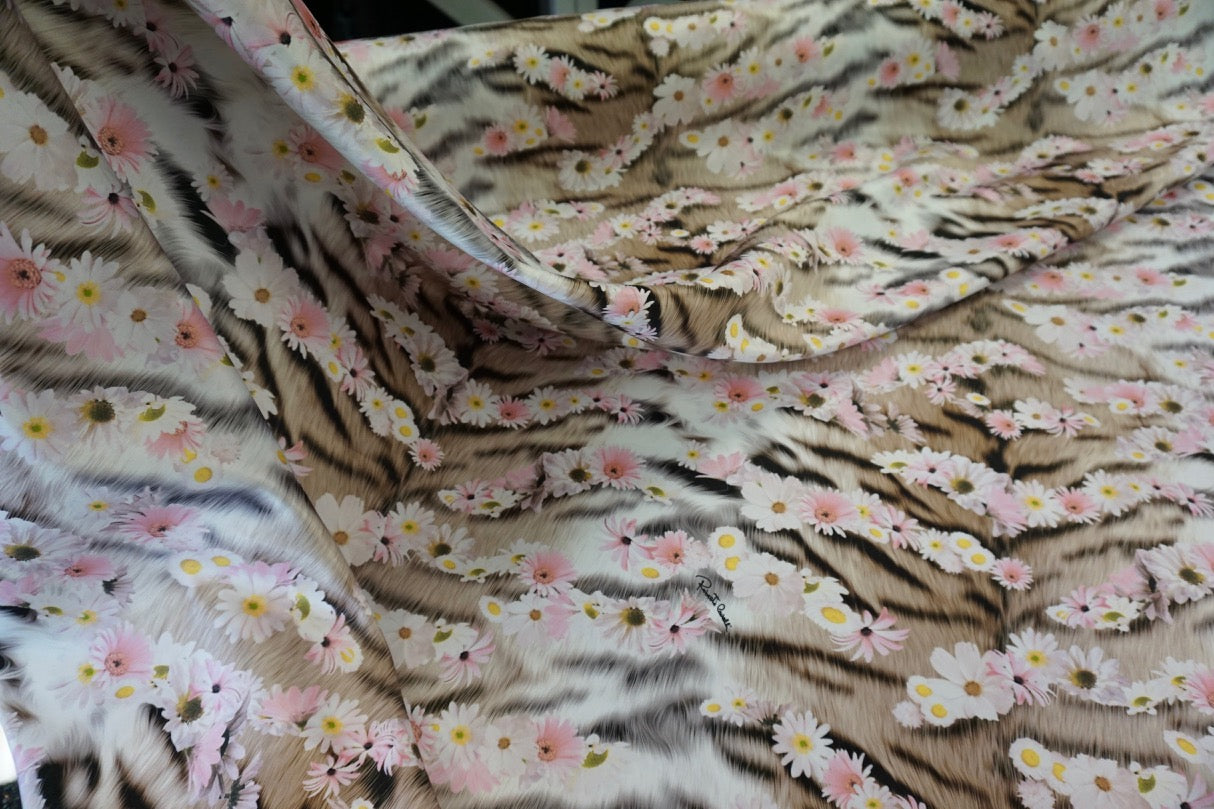 Daisy Tiger Print on Heavy Satin