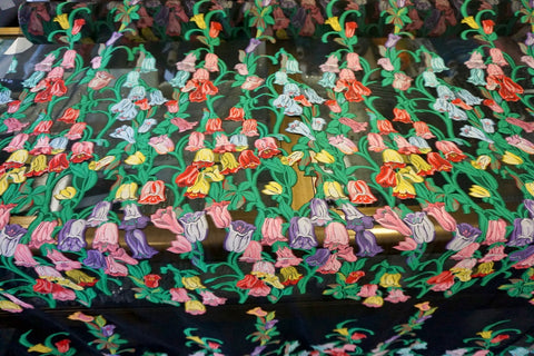 PANEL- Tulip Belles Embroidered on Silk Gauze