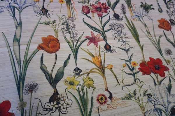Botanical Print on Silk Blend Slub Ottoman