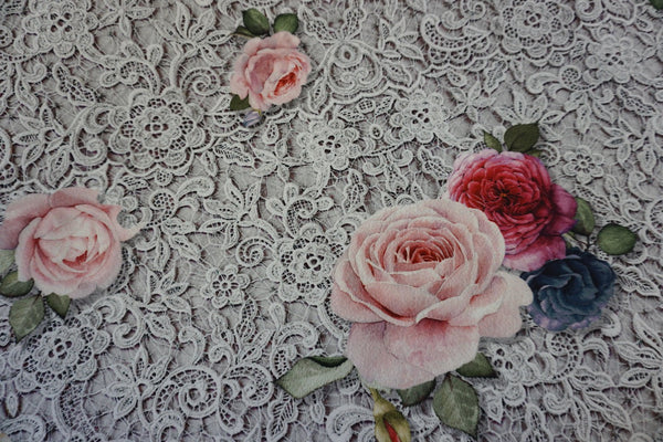 PANEL- Rose & Lace print on Scuba, Grey