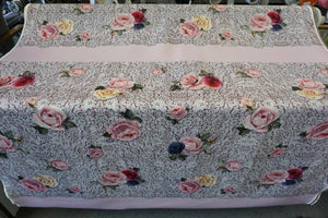 PANEL- Rose & Lace print on Scuba, Pink