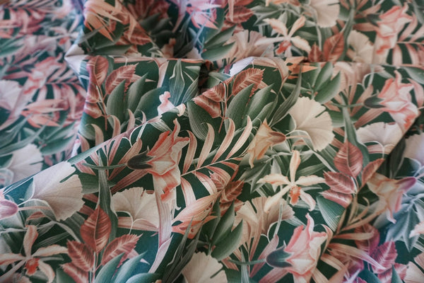 Mauve Carnations Print on Stretch Sateen