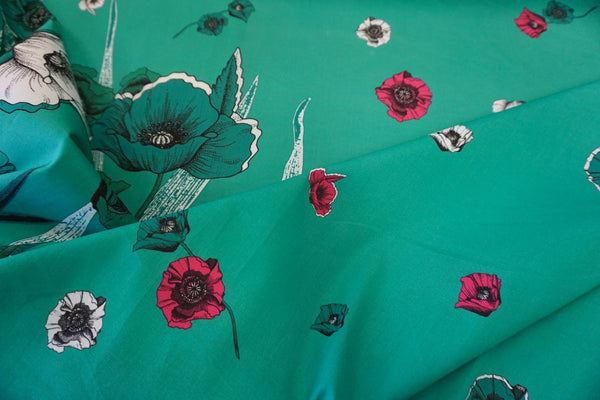 PANEL- Poppy Print on Teal, Stretch Polpin