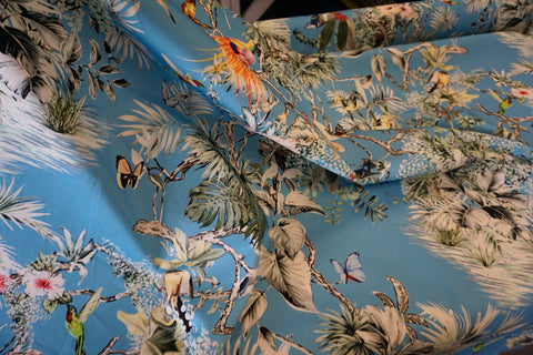 Birds of Paradise Print on Stretch Drill