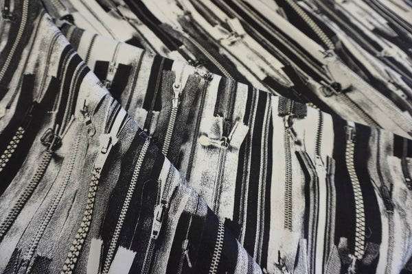 Zipper Collage Print on Stretch Cotton Sateen