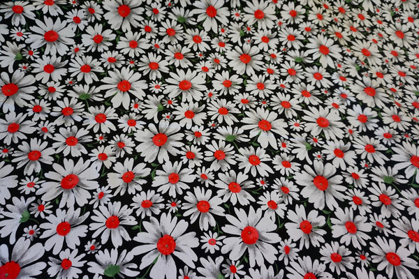Oh, My Daisy Print on Stretch Sateen -Red