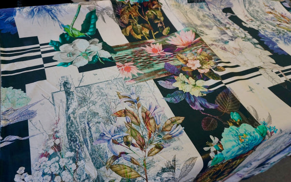 LAST PIECE: 1.6mt Water Lily Collage Print on Voile