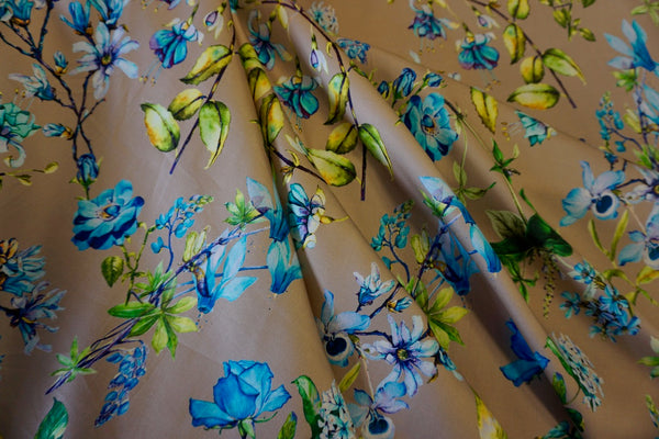 Blue Botanics Print on Stretch Sateen