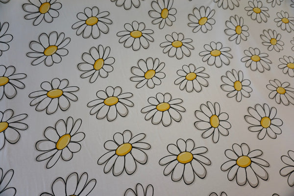 Daisy Pop Print on White Jersey