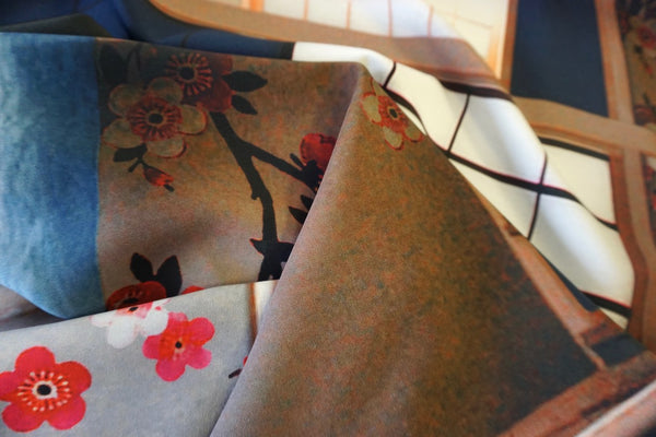 PANEL- Japanese Tea Room Print on Stretch Crepe