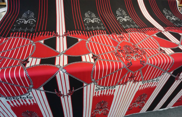 PANEL: Versace Panther & Chains Print on Silk Twill, Watermelon Red