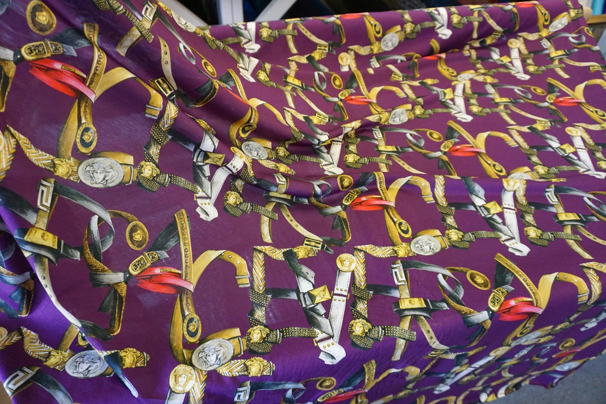 Spell Versace Belts Print on Cotton Jersey