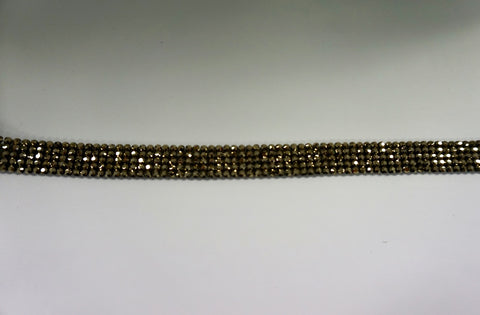 Swarovski Crystal Trim, Five Row Chrome Gold on Black
