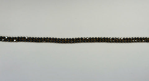 Swarovski Crystal Trim, Double Row Gunmetal Black on Gold