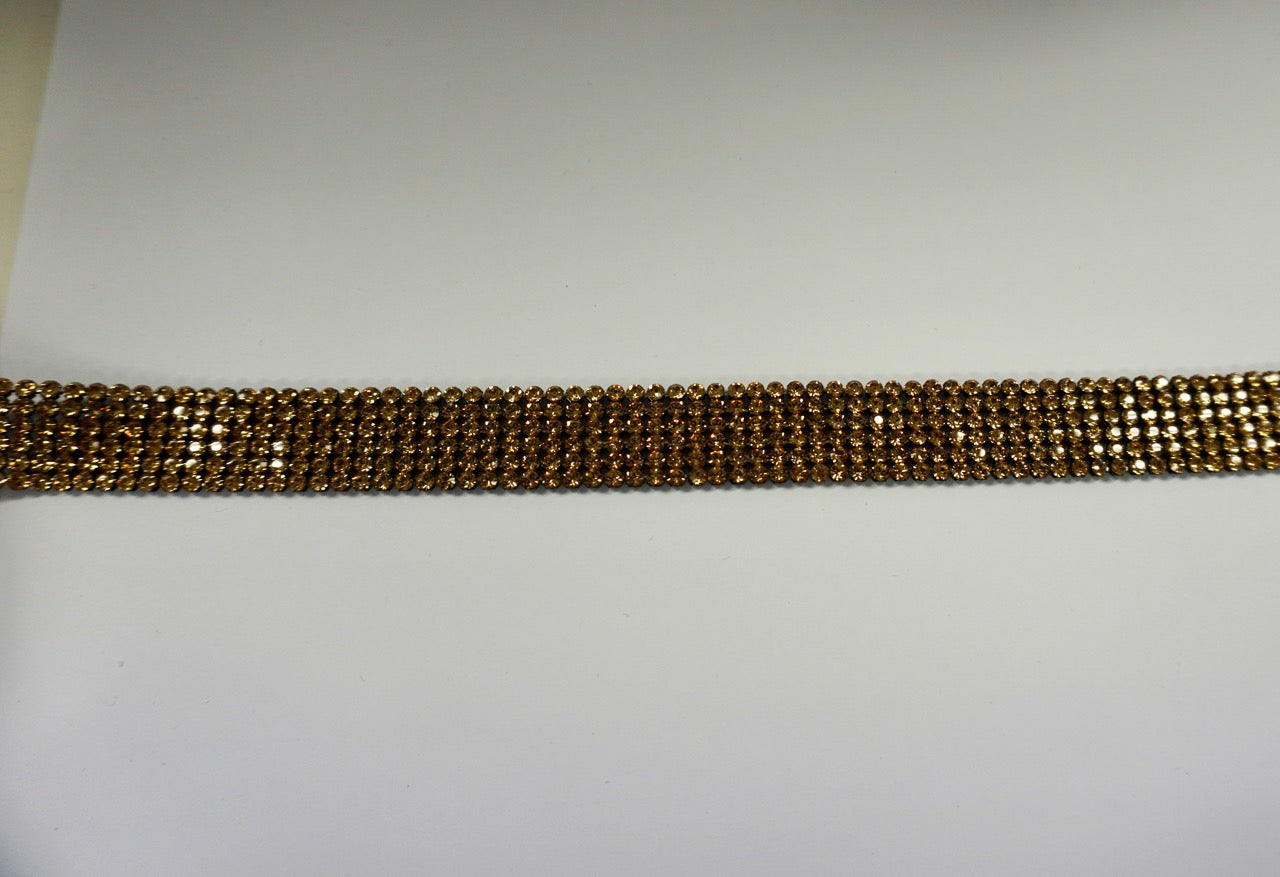 Swarovski Crystal Trim, Six Row Gold on Black