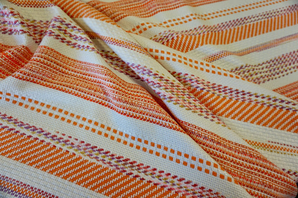Orange Stripe Open Weave Tweed