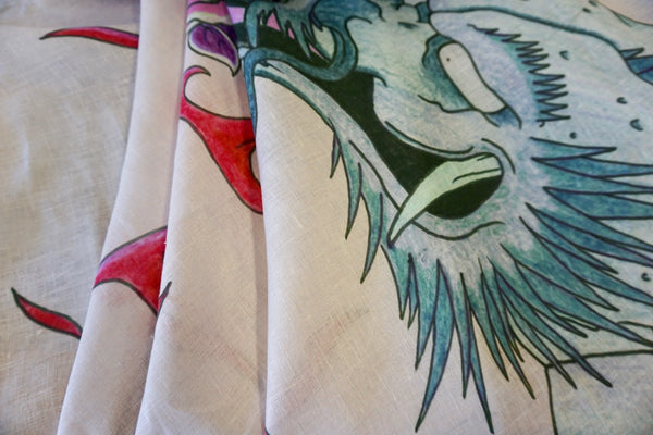 PANEL- Dragon Print on White Linen