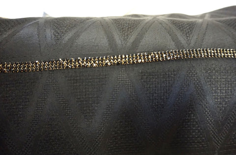 Swarovski Crystal Trim, Triple Row Black on Gold